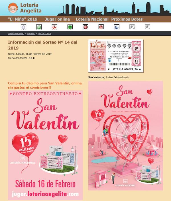 Lotería Nacional Sorteo Extraordinario De San Valentín Información Del Sorteo Nº 14 Del 16 De Febrero Del 2019